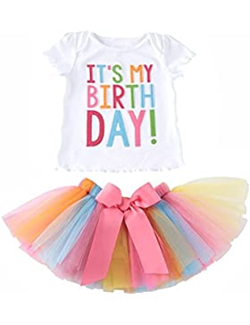Le SSara Bambine È il mio compleanno ricamo t-shirt & set gonna a pieghe