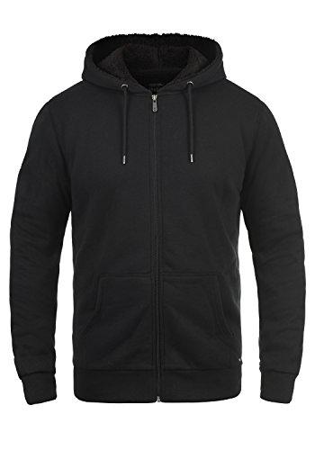SOLID BertiZip Pile Herren Sweatjacke Kapuzen-Jacke Zip-Hoodie mit Teddyfutter aus hochwertigem Baumwollmaterial Meliert, Größe:L, Farbe:Black Pil (P9000) (Kapuzen-jacke)
