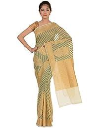 Paheli Women's Silk Saree (Beige and Green)