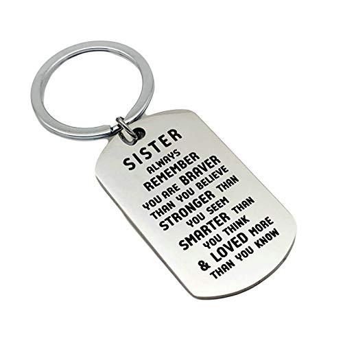 HIUYOO Taschenanhänger Charms Gravur Brother/Sister Remember You Are Brave Schlüsselanhänger Drive Safe Edelstahl Schlüsselbund Silber