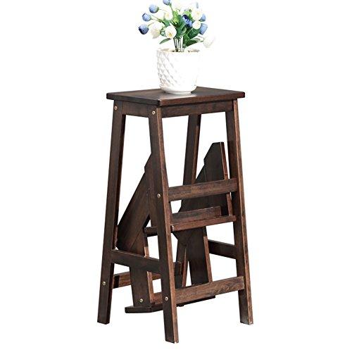 LIXIONG Klappleiter Hocker Multifunktion Stuhl DREI Schichten Regal Gummi Holz Farbe der schwarzen Walnuss Hohe 770 mm Bibliothekshocker - Walnuss-drei Schichten