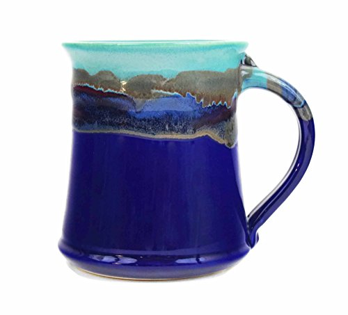 Large Egg Shaker (Clay In Motion Handmade Ceramic Medium Mug 16oz - Mystic Waters by Clay in Motion)