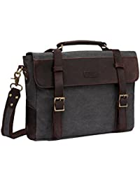 Vaschy Vintage Canvas Leather Messenger Bag School Shoulder Bag Business Briefcase Satchel Gray