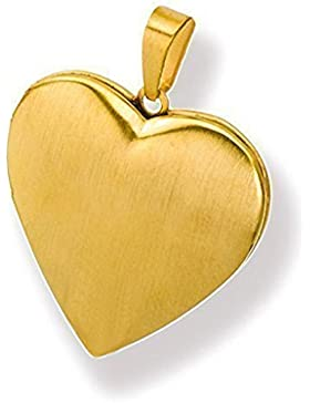 Medaillon mattiert Herz Edelstahl für 2 Fotos Anhänger Amulett Gold beschichtet