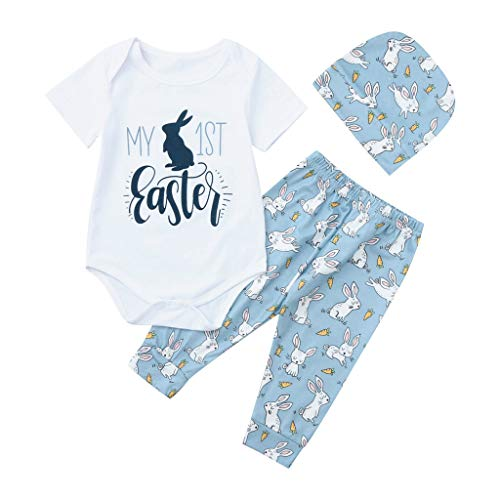 Lazzboy Baby Girl Boy Cartoon First Easter Bunny Outfits Romper Hat Pants Set 1 STÜCK Tops + 1 STÜCK Hosen + 1 STÜCK ()