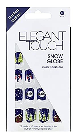Elegant Touch Christmas Trend Snow Globe Faux Ongles Noël 24 Pièces