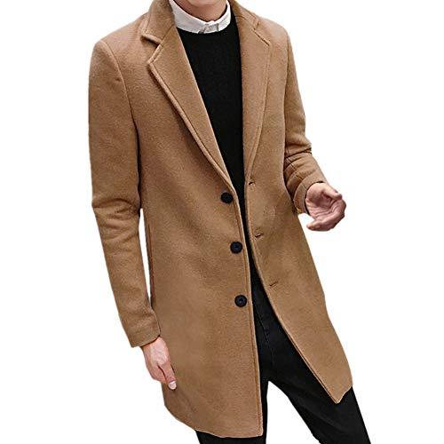 Qmber Kapuzenjacke Herrenjacke Sweatjacke Parka Mit Kapuze Hoodies Outdoor Coat Strickjacke Täglichen Mäntel Outwear Herbst Winter Tops, Formaler Single Breasted Wolle(Khaki,X-Large) Single Breasted Jacke