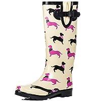 SPYLOVEBUY Knee High Flat Festival Wellies Rain Boots Cream Rubber Sz 4