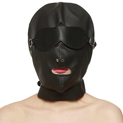 Greenpinecone® blickdicht Leder Kopfmaske in schwarz mit abschließbarknebel Augenbinde - Bondage Fetisch SM Rollenspiel