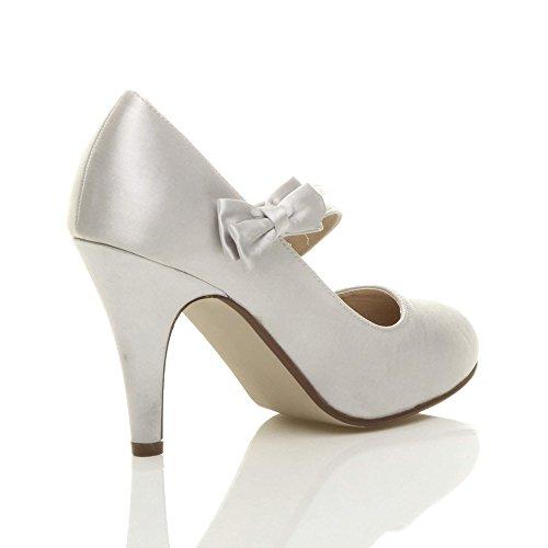 Femmes talon haut sangle nœud strass mariage chaussures babies escarpins taille Argent