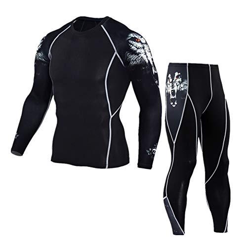 Morbuy Fitness Sportanzug Herren, 2 Stück Funktionsshirt Tights Schnell Trocknend Kompressions T Shirt & Kompressions Leggings Bekleidung (XXL, Wolfskopfanzug)