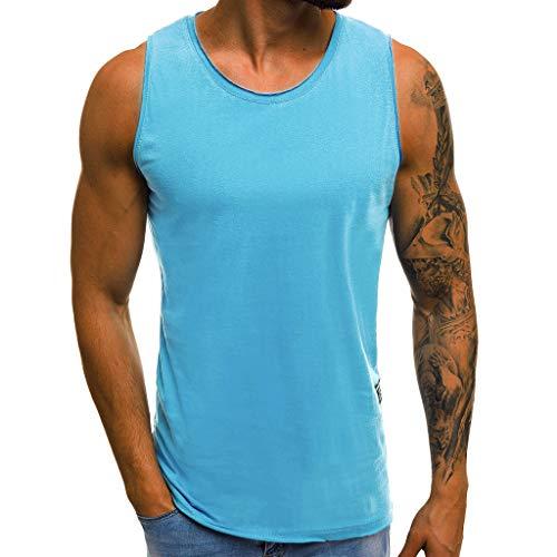 (UJUNAOR Tank Top Herren Slim Fit Basic T-Shirt Tankshirt Ärmellos Muskelshirt Fitness Unterhemden(Blau,CN 3XL))