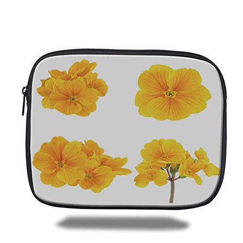 Tablet Bag for Ipad air 2/3/4/mini 9.7 inch,Yellow Flower,Gardening Themed Collection with Little Tender Primrose Primula Blossoms Decorative,Mustard White -