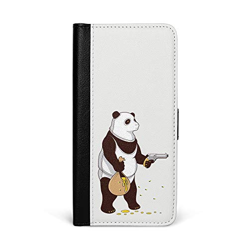 licaso iPhone 5 Faltbare Kunstleder Hülle in Schwarz mit Panda klaut Honig Klappbare Leder Handy Hülle mit Magnetverschluss - 2in1 Smartphone Flip Case & Brieftasche Portemonnaie Zubehör