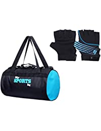 Fashion7 Duffle Polyester Gym Bag Combo Set - Free Gym Gloves With Wrist Support For Sports Lovers (Gym Tote Bags)