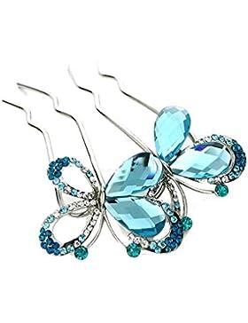 YAZILIND elegante joyas de estilo mariposa de Novia de accesorios de pelo de cristal de diamantes de imitacion...