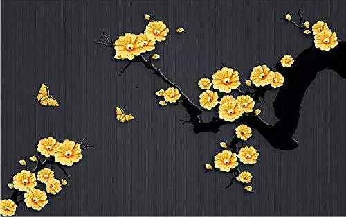Lmqxyy Brauch 3D Seidentapete Wallpaper Fototapeten Wandbilder Chinesische Klassische Goldschmuck Pflaume Tv Hintergrund Wand Wohnzimmer Schlafzimmer-300Cmx210Cm