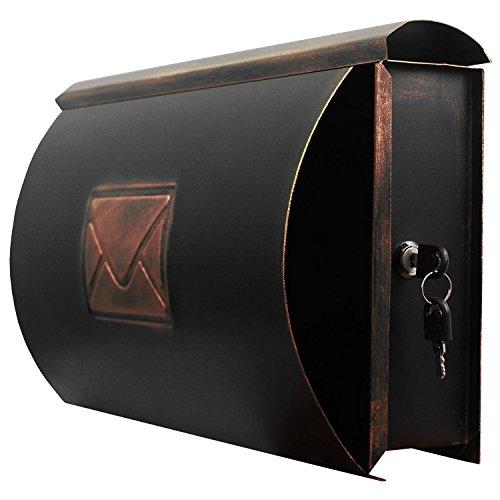 Wand Briefkasten Wandbriefkasten Postkasten Mailbox mit Zeitungsrolle Zeitungsfach Zeitungsbox / Bronze - 2
