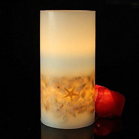 Youngerbaby alimentation par batterie en cire Bougies pilier, Coque lumières décoratives pour réglage de la table de fête Blanc chaud Glow, Fibre de carbone, bleu, Taille L