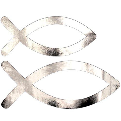 vsd-vk Tischstreu Taufe Kommunion Konfirmation Fische Deko Silber Gold - 32 Stück Streuteile Streudeko Tischdeko ... (32 st Silber)