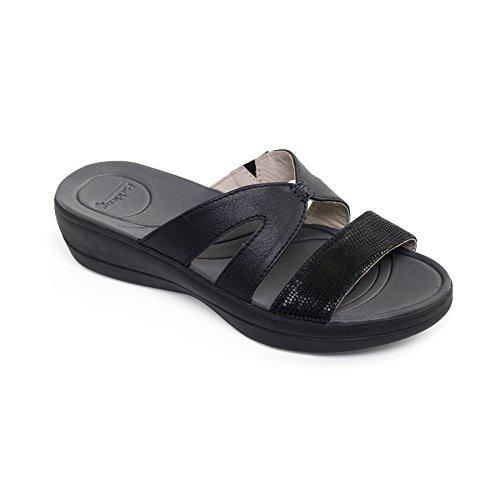 donne Padders pelle sandalo Charlie | Extra grande larghezza di EE | calzascarpe libero Nero / Combi
