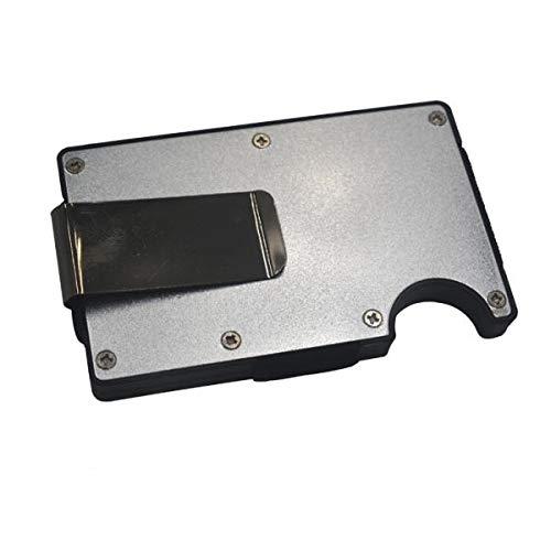 RENCALO Aluminium Slim Wallet Front Pocket Wallet & Money Clip Minimalistische Geldbörse RFID EDC Gadget blockieren-Hellgrau