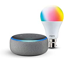 Echo Dot (Grey) bundle with Wipro 9W smart bulb