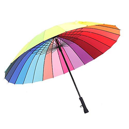 Gerade Golf Regenschirm Windproof Regen/UV-Schutz-Reise-Regenschirm mit Großen Baldachin - Robust und Tragbar, 24 Rippen Regenbogen Regenschirm Für Männer, Frauen und Kinder