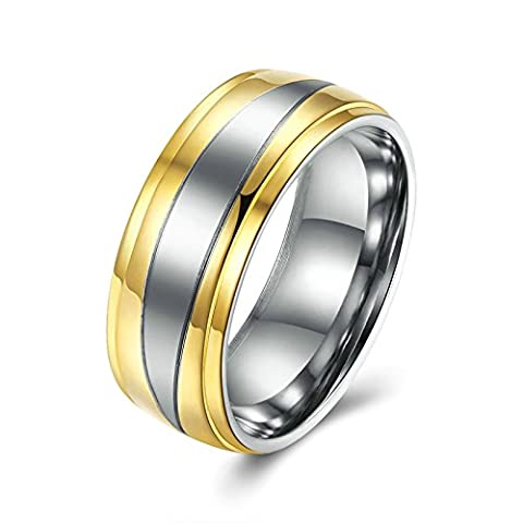 SanJiu Jewelry Unisex Wedding Rings Round Gold Plated Ring Simple Style Promise Anniversary Engagement Friendship Charm Ring for Women and Men Gold Size R 1/2