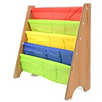 AllRight Kids Fun Book Shelf Bookcases Colourful Wood Sling Book Display Storage Rack for Children Bedroom