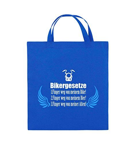 Comedy Bags - BIKERGESETZE - FLÜGEL - Jutebeutel - kurze Henkel - 38x42cm - Farbe: Schwarz / Weiss-Neongrün Royalblau / Weiss-Hellblau