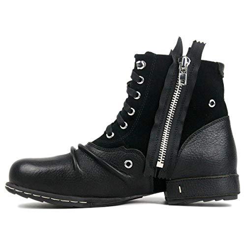 OTTO ZONE Herren Worker Boots | Schnürstiefeletten Leder Optik | Blockabsatz Profilsohle | Schnürer Schuhe Schnallen | Schnürboots |OZ-5008-8