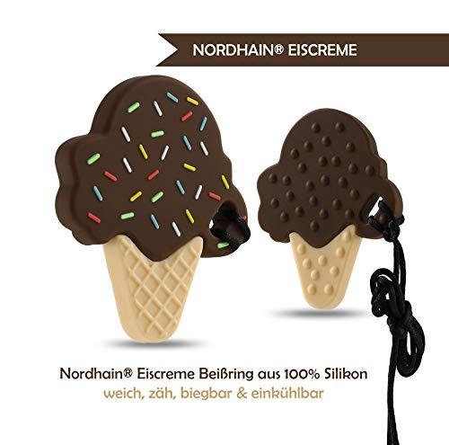 Nordhain Eiscreme Beißring Schokolade für Babys aus hochwertigem Silikon - unterstützender Spielkamerad & Freund deines Babys in zahnender Zeit