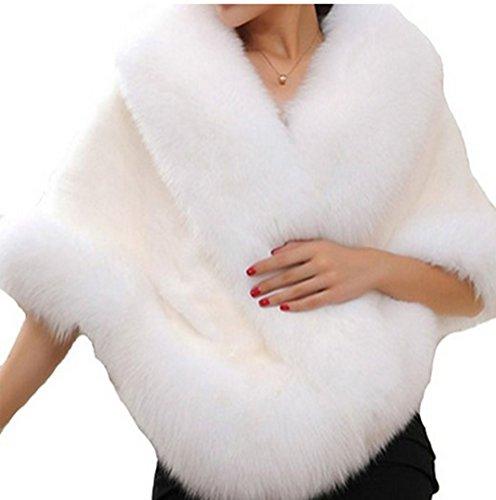 PLAER donna moda pelliccia visone scialle mantello cappotto maglia scialle