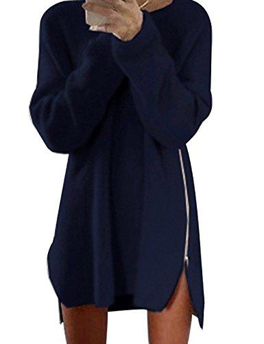 Donna Maglione Allentato Cerniera Laterale Cardigan Casuale Manica lunga Camicia Top Autunno Inverno Maglieria Oversize (XL, blu marino)