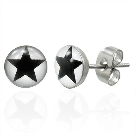 Urban Male Men's Earrings Stainless Steel Studs Black Star Design 7mm