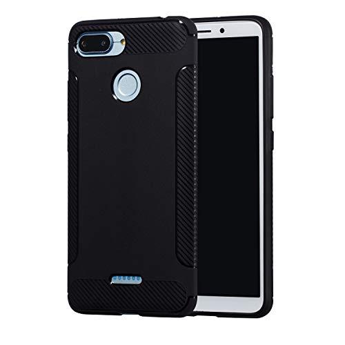 Carols Redmi 6 Hülle, Xiaomi Redmi 6 Case Flexiblem TPU Silikon Hybrid Schutzhülle Kohlenstoff-Fasern Tasche Ultra Slim Handyhülle für Xiaomi Redmi 6 - Schwarz A