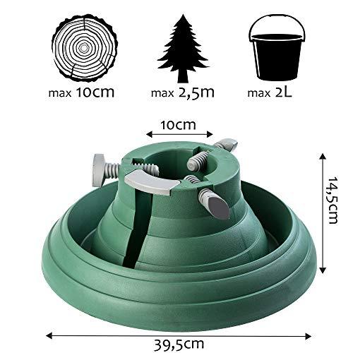KADAX Weihnachtsbaumständer mit Wasserbehälter, Stabiler Christbaumständer aus robustem Kunststoff für Bäume, moderner Tannenbaumständer, Verschiedene Großen, grün (Baumhöhe bis 2,5m)
