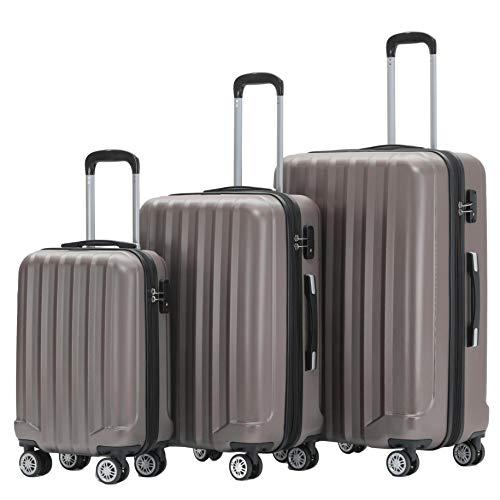BEIBYE TSA-Schloß 2080 Zwillingsrollen 3 TLG. Reisekofferset Koffer Kofferset Trolley Trolleys Hartschale (Coffee)