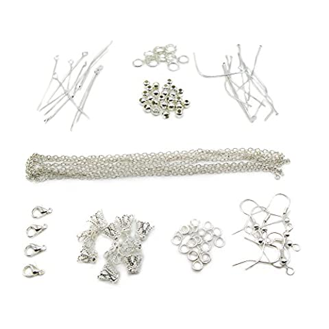 TOAOB Jewellery Making Kit with Silver Tone Jump Rings Beads Clasps Cross Chains Pins