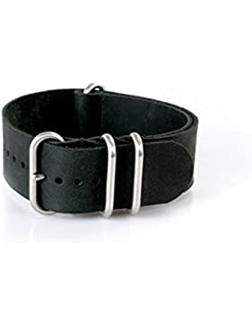 Vk von Buran01.com Uhrenarmband ZULU Vintage Style Leder Nato schwarz/back 20mm Watch Strap