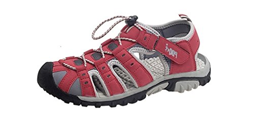 Donna Bottone e chiusura in velcro leggero comodo incluse Walking Sports Trail sandali Red/Grey