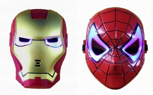 "Preisvergleich Produktbild Iron Man Spider-Man wind keen eye ""very popular"" discernment is part mask transformation ""LED"" shiny! Goods PWS fun two-piece set product! Mask masquerade event three-dimensional transformation Party movie series (japan import)"