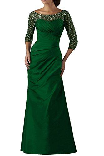 Ivydressing Damen Elegant 3/4 Aermel Paillette Taft&Tuell Lang Ballkleider Festkleid Promkleid Abendkleid Grün