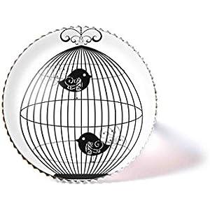 Ring mit Cabochon, Vögel im Käfig