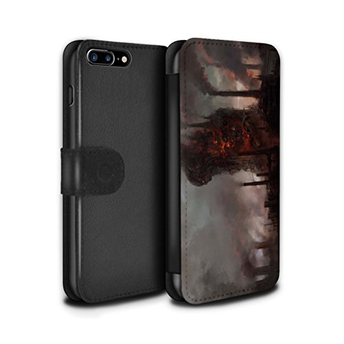 Offiziell Chris Cold PU-Leder Hülle/Case/Tasche/Cover für Apple iPhone 7 Plus / Gift Haupt Muster / Gefallene Erde Kollektion Industrie Maschine