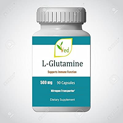 L-Glutamine 500mg - Improves Energy Levels & Muscle Mass, Muscle Recovery, Supports Digestive & Immune Health - 90 Vegetarian Capsules by Ved