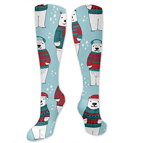 Gped Kniestrümpfe,Socken Polar Bears in Sweaters Christmas Compression Socks,Knee High Socks,Funny Socks for Women Men - Best Medical,Sports,Running, Nurses,Maternity,Pregnancy,Travel & Flight Socks