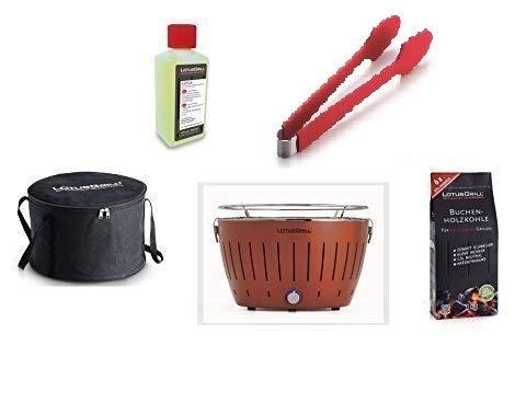 LotusGrill Kit de Démarrage 1x LotusGrill Kupferbraun édition limitée 1x Charbon de bois de hêtre 1kg,1x Pâte brûlante 200ml,1x Pinces à saucisses Rouge,1x sac de Transport