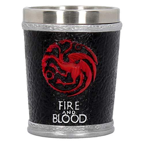 Nemesis Now B4453N9 Fire and Blood Game of Thrones Schnapsglas, Kunstharz, mit Edelstahleinsatz, 12 cm, Schwarz -